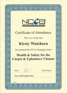 NCCA health and safety training certificate 2015