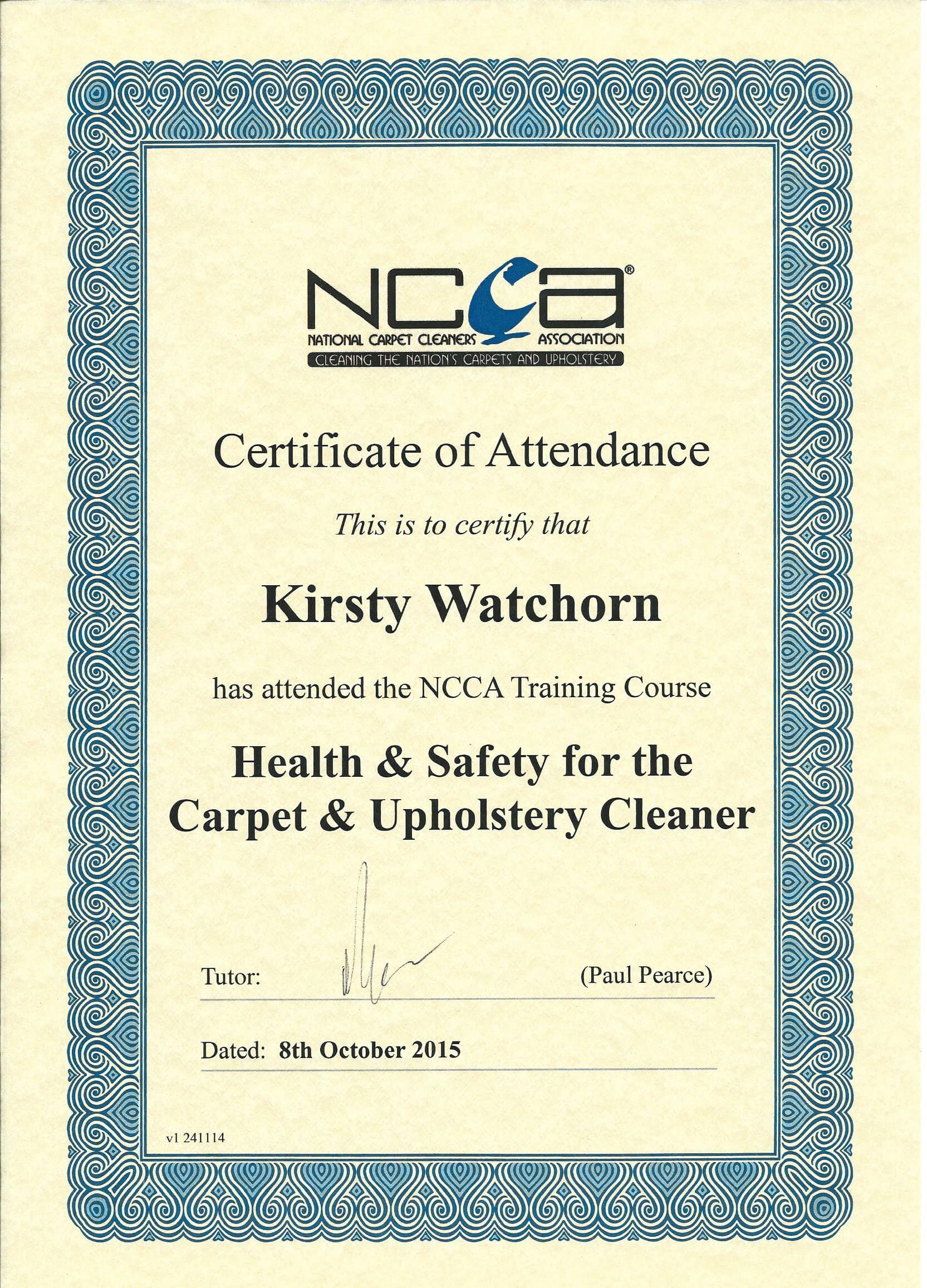 Merlin clean carpet cleaning and upholstery cleaning training and ncca health and safety training certificate 2015 1betcityfo Gallery