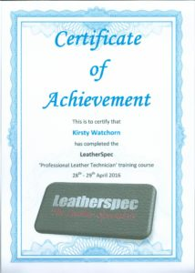 Professional leather technician course certificate 2016