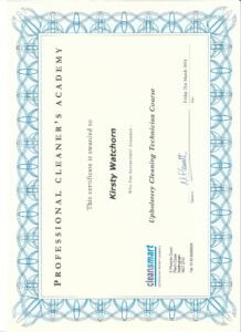 Upholstery cleaning certificate 2014